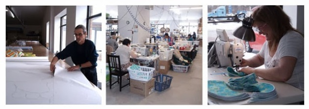 Des employés s'affairant dans l'atelier Bummis à St-Jean-sur-Richelieu!